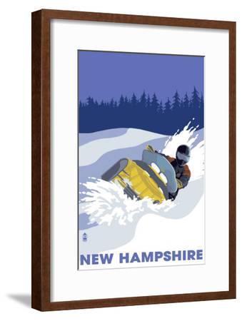 New Hampshire, Snowmobile Scene-Lantern Press-Framed Art Print