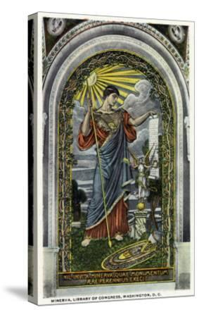 Washington DC, Interior Views of the Library of Congress, Minerva of Peace Mosaic-Lantern Press-Stretched Canvas Print