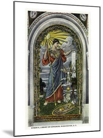 Washington DC, Interior Views of the Library of Congress, Minerva of Peace Mosaic-Lantern Press-Mounted Art Print