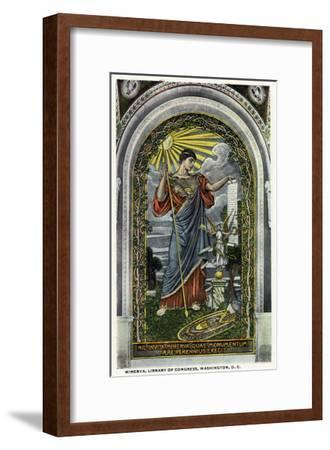 Washington DC, Interior Views of the Library of Congress, Minerva of Peace Mosaic-Lantern Press-Framed Art Print