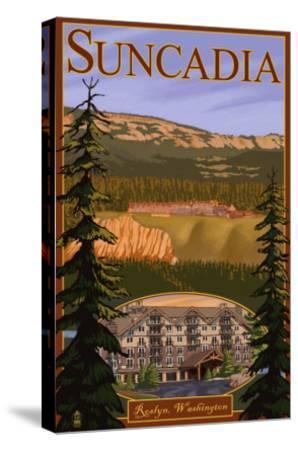 Roslyn, Washington, Suncadia Resort Scene-Lantern Press-Stretched Canvas Print