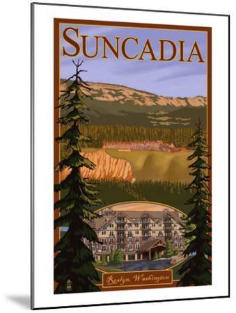 Roslyn, Washington, Suncadia Resort Scene-Lantern Press-Mounted Art Print