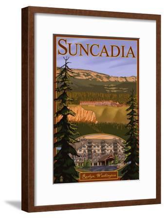 Roslyn, Washington, Suncadia Resort Scene-Lantern Press-Framed Art Print