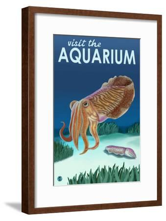 Visit the Aquarium, Cuttlefish Scene-Lantern Press-Framed Art Print