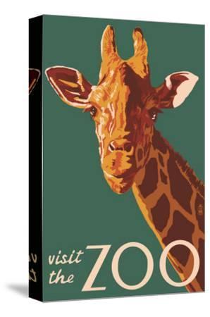 Visit the Zoo, Giraffe Up Close-Lantern Press-Stretched Canvas Print