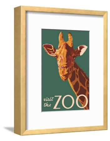 Visit the Zoo, Giraffe Up Close-Lantern Press-Framed Art Print