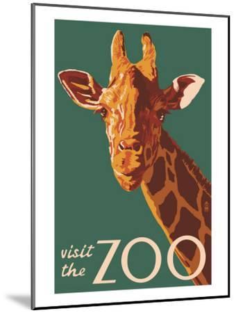 Visit the Zoo, Giraffe Up Close-Lantern Press-Mounted Art Print