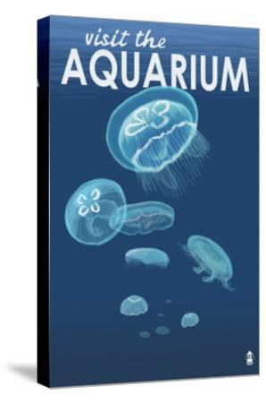 Visit the Aquarium, Jellyfish Scene-Lantern Press-Stretched Canvas Print