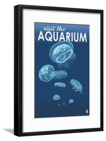 Visit the Aquarium, Jellyfish Scene-Lantern Press-Framed Art Print