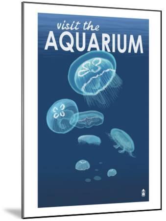 Visit the Aquarium, Jellyfish Scene-Lantern Press-Mounted Art Print