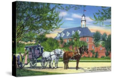 Exterior View of the Old Capitol Building with a Horse-Drawn Coach, Williamsburg, Virginia-Lantern Press-Stretched Canvas Print