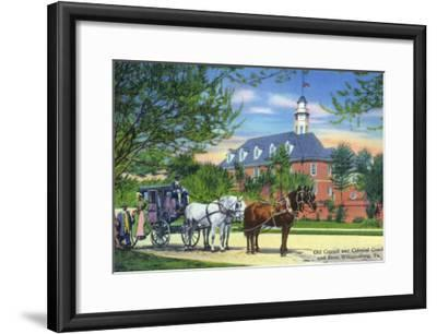 Exterior View of the Old Capitol Building with a Horse-Drawn Coach, Williamsburg, Virginia-Lantern Press-Framed Art Print