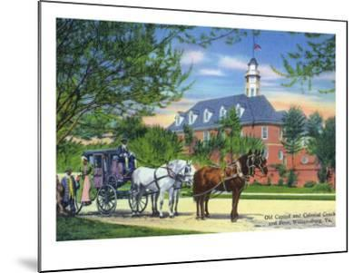 Exterior View of the Old Capitol Building with a Horse-Drawn Coach, Williamsburg, Virginia-Lantern Press-Mounted Art Print