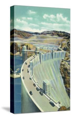 Hoover Dam, Nevada, Aerial View of the Highway Connecting Arizona and Nevada-Lantern Press-Stretched Canvas Print