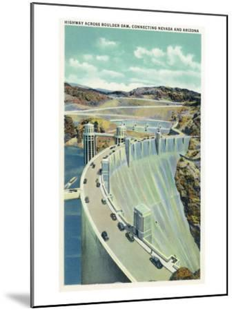 Hoover Dam, Nevada, Aerial View of the Highway Connecting Arizona and Nevada-Lantern Press-Mounted Art Print