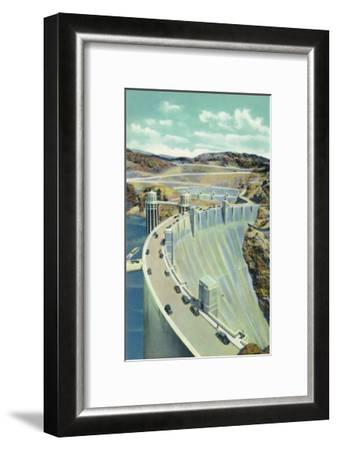 Hoover Dam, Nevada, Aerial View of the Highway Connecting Arizona and Nevada-Lantern Press-Framed Art Print