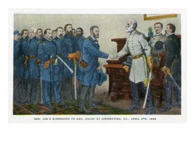 Appomattox, Virginia, Representation of Lee Surrendering to Grant on April 9, 1865-Lantern Press-Framed Art Print