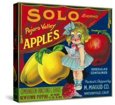 Solo Pajaro Valley Brand Apple Label, Watsonville, California-Lantern Press-Stretched Canvas Print