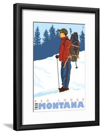 Snow Hiker, Red Lodge, Montana-Lantern Press-Framed Art Print