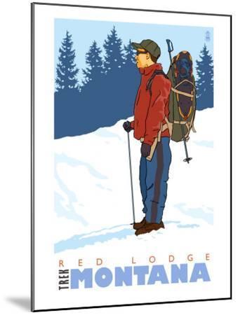 Snow Hiker, Red Lodge, Montana-Lantern Press-Mounted Art Print