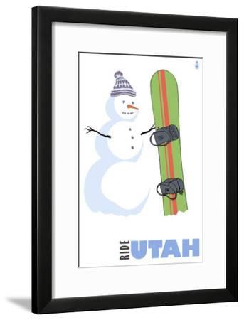 Utah, Snowman with Snowboard-Lantern Press-Framed Art Print