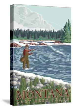 Montana, Last Best Place, Fly Fisherman-Lantern Press-Stretched Canvas Print