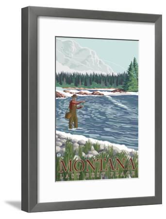 Montana, Last Best Place, Fly Fisherman-Lantern Press-Framed Art Print