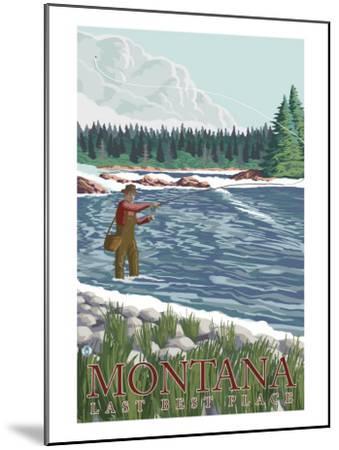 Montana, Last Best Place, Fly Fisherman-Lantern Press-Mounted Art Print