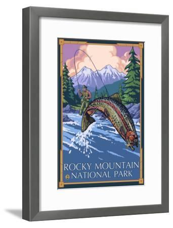Rocky Mountain National Park, CO, Angler Fisherman-Lantern Press-Framed Art Print
