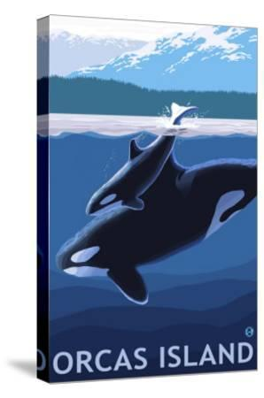 Orcas Island, Washington, Orca and Calf-Lantern Press-Stretched Canvas Print