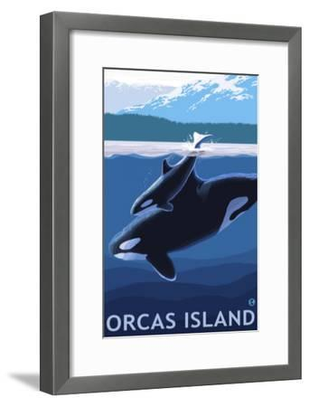 Orcas Island, Washington, Orca and Calf-Lantern Press-Framed Art Print