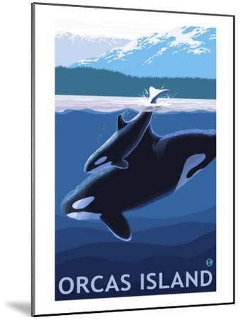 Orcas Island, Washington, Orca and Calf-Lantern Press-Mounted Art Print