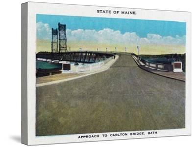 Bath, Maine, View of the Carlton Bridge Approach-Lantern Press-Stretched Canvas Print