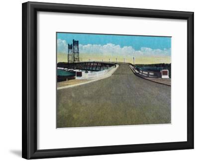 Bath, Maine, View of the Carlton Bridge Approach-Lantern Press-Framed Art Print