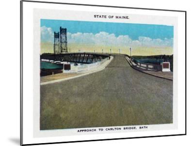 Bath, Maine, View of the Carlton Bridge Approach-Lantern Press-Mounted Art Print