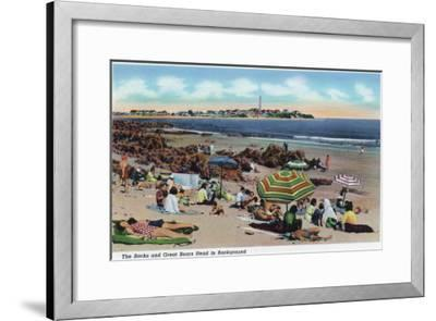 Hampton Beach, NH, View of the Rocks and Great Boars Head from Beach-Lantern Press-Framed Art Print