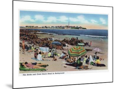 Hampton Beach, NH, View of the Rocks and Great Boars Head from Beach-Lantern Press-Mounted Art Print