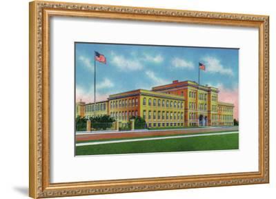Lowell, Massachusetts, Exterior View of the Lowell Textile Institute-Lantern Press-Framed Art Print