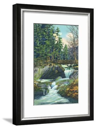 White Mountains, New Hampshire, View of the Franconia Notch Basin-Lantern Press-Framed Art Print