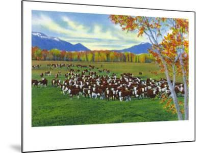 New Mexico, View of Cattle on the Range-Lantern Press-Mounted Art Print