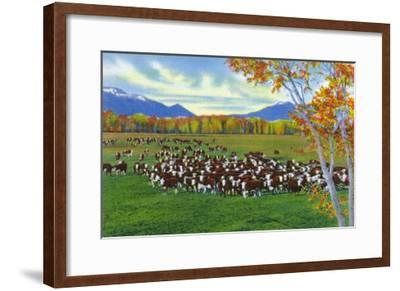 New Mexico, View of Cattle on the Range-Lantern Press-Framed Art Print