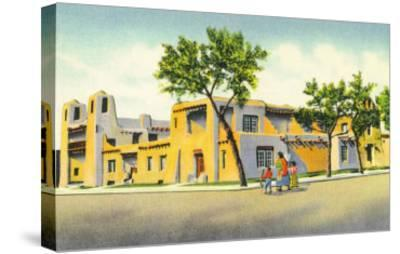 Santa Fe, New Mexico, Exterior View of the Art Museum-Lantern Press-Stretched Canvas Print