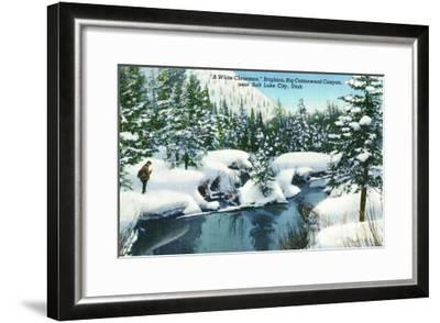 Brighton, Utah, A Snowy Winter Scene in Big Cottonwood Canyon-Lantern Press-Framed Art Print