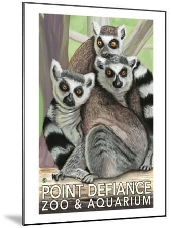 Tailed Lemurs, Point Defiance Zoo and Aquarium-Lantern Press-Mounted Art Print