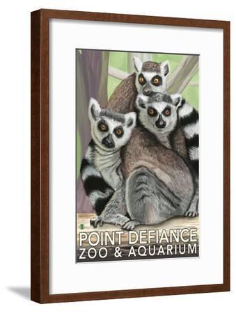 Tailed Lemurs, Point Defiance Zoo and Aquarium-Lantern Press-Framed Art Print
