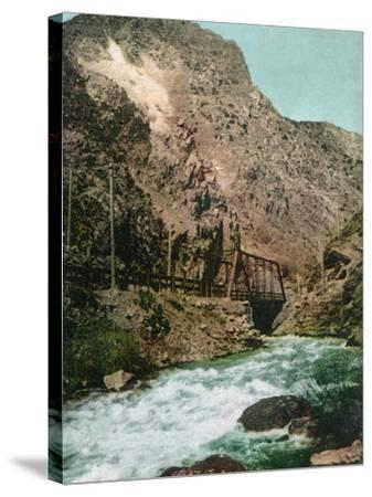 Ogden Canyon, Utah, View of the First Bridge-Lantern Press-Stretched Canvas Print