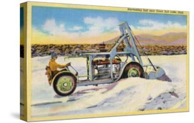 Utah, View of a Tractor Harvesting Salt near Great Salt Lake-Lantern Press-Stretched Canvas Print