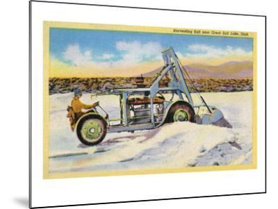 Utah, View of a Tractor Harvesting Salt near Great Salt Lake-Lantern Press-Mounted Art Print