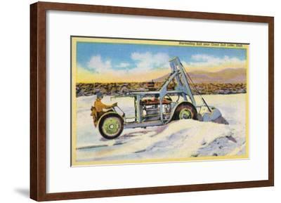 Utah, View of a Tractor Harvesting Salt near Great Salt Lake-Lantern Press-Framed Art Print
