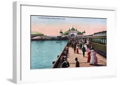 Utah, View of Crowds Arriving at the Saltair Pavilion-Lantern Press-Framed Art Print